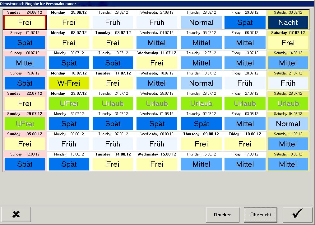 Wunscheingabe über Terminal im idisPRO Wunschdienstplan
